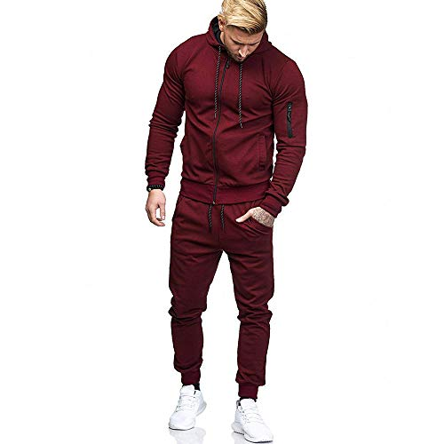 Limsea Men's Autumn Patchwork Zipper Sweatshirt Top Pants Sets Sports Suit Tracksuit(Red,2XL)