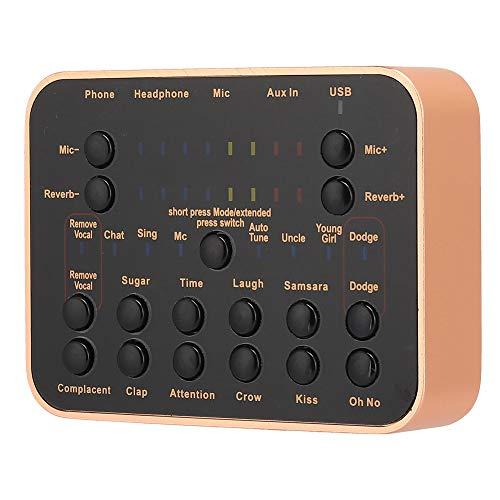 Hopcd Scheda Audio X10 per Live, Scheda Audio Cambia Voce - Mixer Audio DJ, Telefono Cellulare/Computer Scheda Effetti Audio Multipli Esterna per Trasmissione dal Vivo, Canzoni Net K, Karaoke, Giochi