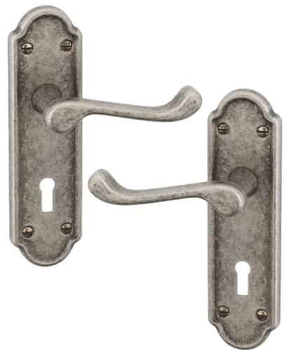 URFIC 100-455-AT LK Ashworth Pewter - Set maniglia per porta con serratura a leva, anticata