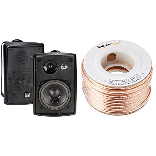 Dual Electronics LU43PB 4 inch 3-Way High Performance Indoor, Outdoor & Bookshelf Studio Monitor Speakers with Swivel Brackets & 100 Watts Peak Power & AmazonBasics 16-gauge Speaker Wire - 50 Feet
