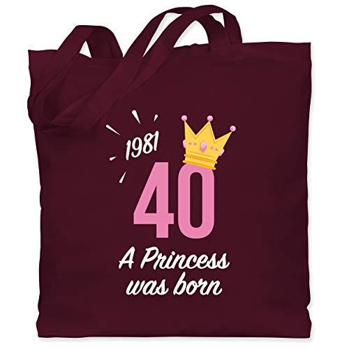 Shirtracer Geburtstagsgeschenk Geburtstag - 40. Geburtstag Mädchen Princess 1981 - Unisize - Bordeauxrot - 40. Geburtstag - WM101 - Stoffbeutel aus Baumwolle Jutebeutel lange Henkel