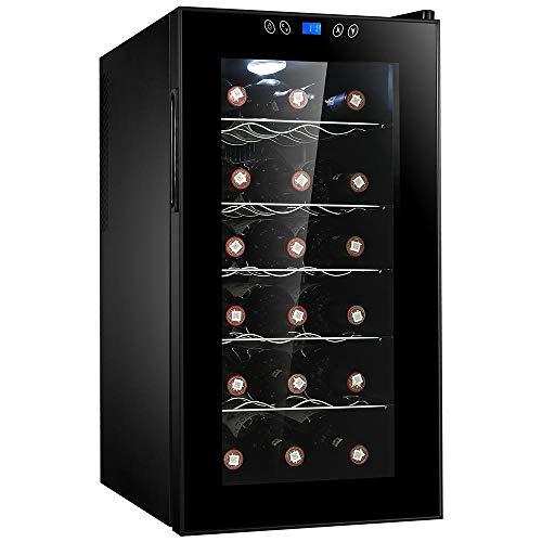 Bakaji Cantina Refrigerante Bottiglie di Vino Cantinetta Frigo Elettrica Digitale con 18 Porta Bottiglie 50 Lt Potenza 60 W Temperatura Regolabile