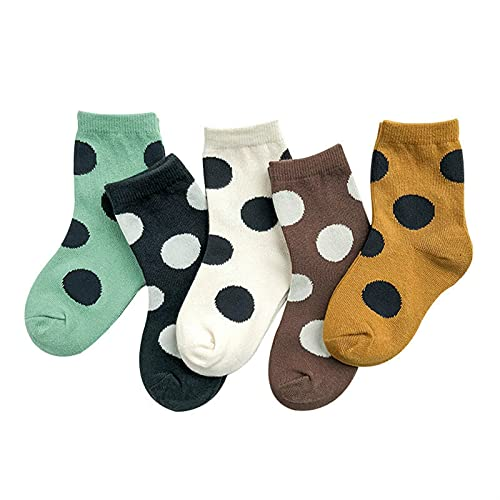 5 Pares Pack Boy Socks Calcetines Calcetines de niña Otoño e Invierno Polka Polka Color Color Color A Matches Calcetines de Algodón Niños (Color : 5 Pair Pack, Size : XL 9 12 Years Old)