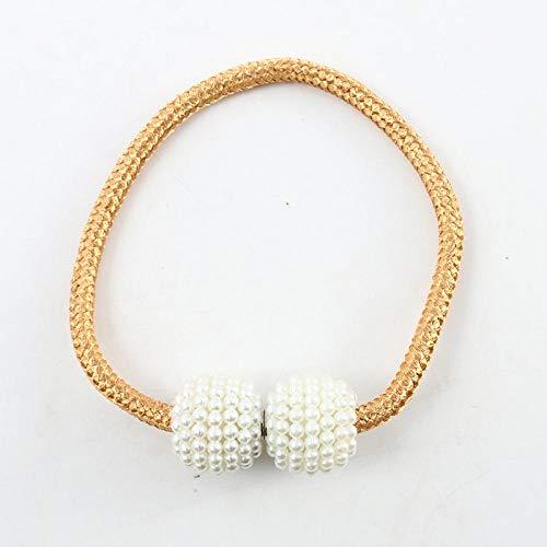 HNLHLY Home kantoor decoratie nieuwe string touw parel magnetische gesp gordijn riem thuis textiel accessoires gordijnen (1 pak 5 paar) - rijst negen