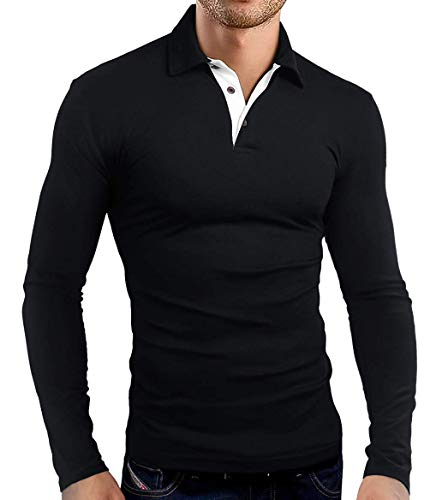 KUYIGO Mens Classic Dry Fit Long Sleeve Golf Polo Shirts Casual Basic Designed with Cotton Shirts Large Black