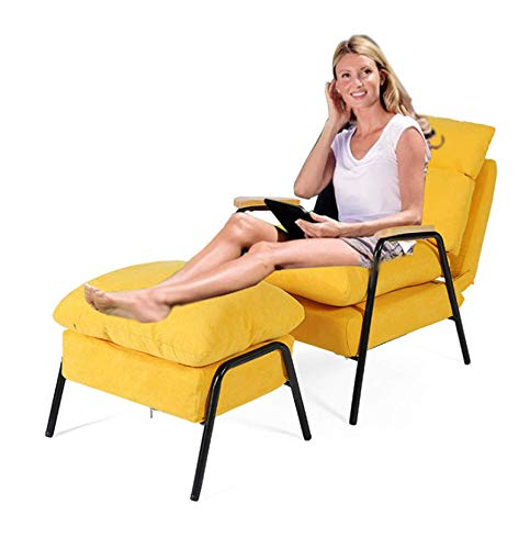 Sedie in velluto per soggiorno, Lazy Sofa Chair con poltrone ottomane gialle per il soggiorno Lo schienale può essere regolato14 posizioni, larghezza seduta extra large di 61 cm, carico 450 Ibs
