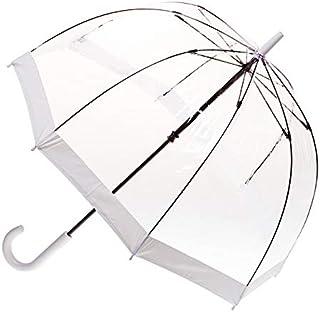 CLIFTON UMBRELLAS White Trim Clear PVC Birdcage Windproof Umbrella, White, One Size