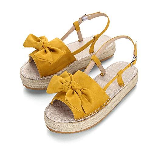 Sandalias De Fondo Grueso De Color Amarillo Sandalias De Mujer De Cuerda De Cáñamo Sandalias De Boca De Pez De Fondo Claro Sandalias De Mujer Talla Grande 43 Sandalias De Mujer Caminando Tacones Bajos