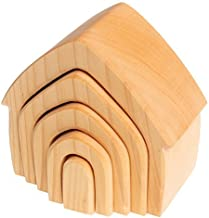 Grimm's Large 5-Piece Wooden Stacking & Nesting House, Natural