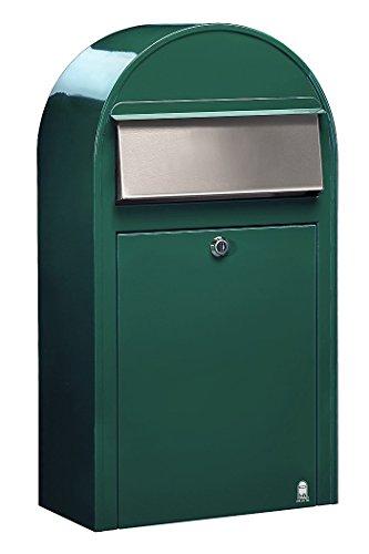 Bobi Grande S Briefkasten RAL 6005 grün, Klappe aus Edelstahl Wandbriefkasten