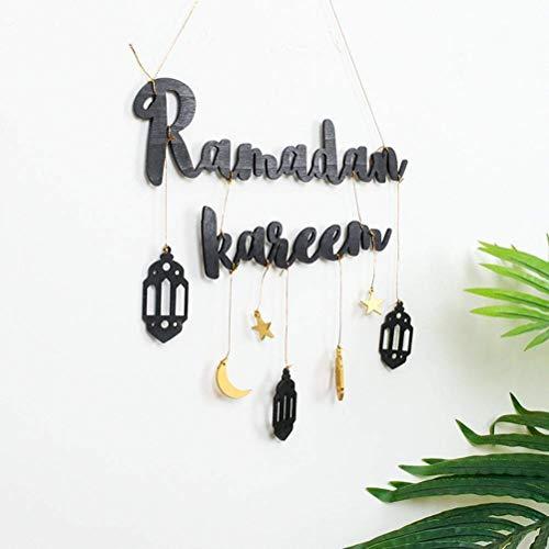 Osuner Cartel Colgante de Madera de Ramadán Ramadán Kareem Letras decoración para Colgar en la Pared para Suministros de Eid al-Fitr
