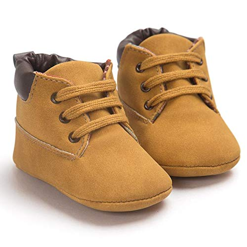 Shan-S Baby Booties for Boys Girls, Infant High-top Sneaker Brown Warm Shoes Boots Toddler Shoes Soft Anti-Slip Soled Suede Babies Moccasins