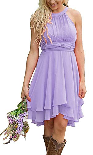 Meledy Women's Knee Length Country Bridesmaid Dresses Western Wedding Guest Dresses Short Maid of Honor Gown Lavender US06