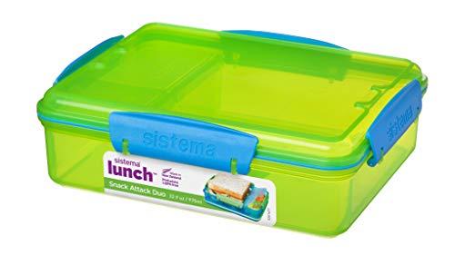 Sistema 975 ml de compartimento con cremallera para almuerzo de ataque Duo fiambrera, verde