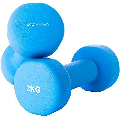 Neopren Hanteln Kurzhanteln Set von 2 A3 Poster enthalten. 1-10 kg Gewichte für Männer und Frauen (2 x 2KG)