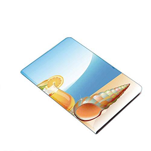 iPad Air 10,5 tum (3:e generationen) 2019/iPad Pro 10,5 tum 2017 smart fodral – snäckskal och glas orange juice med hav sommar strand digitala tryck dekorativ ultratunt lätt stående fodral med PU Lea