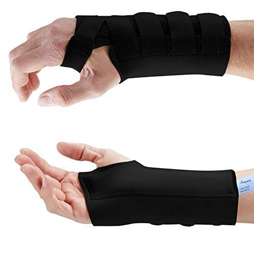 Actesso Neopren Handgelenkschiene - Karpaltunnel Schiene für Handgelenkschmerzen, Karpaltunnelsyndrom, Zerrungen, Handgelenkfrakturen und Arthritis (Mittelgroß, Schwarz Links)