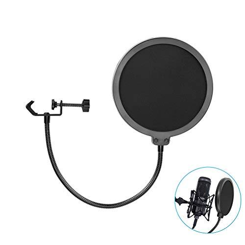 Schimer Filtro Pop, micrófono de 6 Pulgadas Pop Guard Studio Micrófono Absorbente Filtro Pantalla de micrófono Forma Redonda Wind Pop Filtro Máscara Escudo con Clip de Soporte