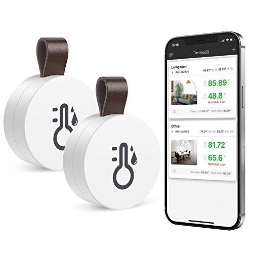 ORIA 2Pezzi Igrometro Termometro Wireless Bluetooth, Sensore di Temperatura e umidità con Funzione di Esportazione dei Dati, Termometro da Interno Mini con iPhone e Android per Vino, Soggiorno, Casa