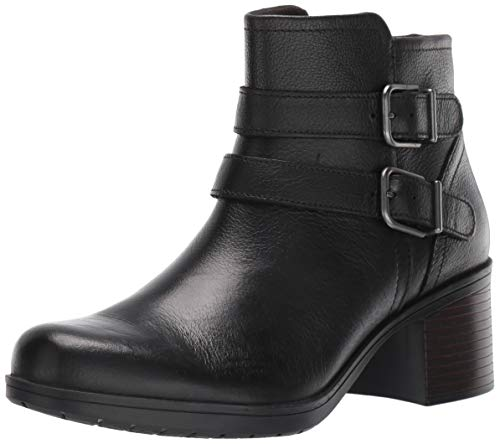 Clarks Women's Hollis Pearl Fashion Boot, Black Leather, 75 M US