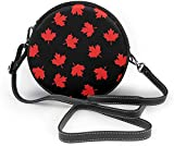 BAODANLA Bolso redondo mujer Canada Maple Leaf Pattern Women Soft Leather Round Shoulder Bag Zipper Circle Purses Sling Bag