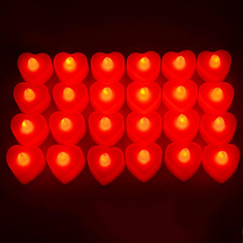 GXLXY Bougie électronique, LED Bougie électronique Fournitures de Mise en Page créative Romantique Bougie Coeur Anniversaire,Rouge