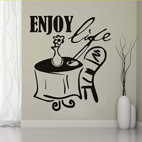 Zfkdsd Genießen Leben Ein Tisch Stuhl Und Blume Wandaufkleber Diy Abnehmbare Wasserdichte Wandtattoo Selbstklebende Küche Dekoration 43 * 50 Cm
