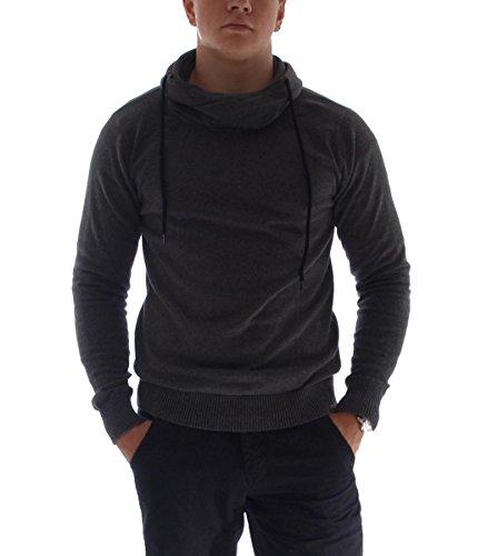 Hailys Herren Sweatshirt Pullover mit Kragen Kapuzenjacke Sweatjacke Hoodie Grau, Größe:L