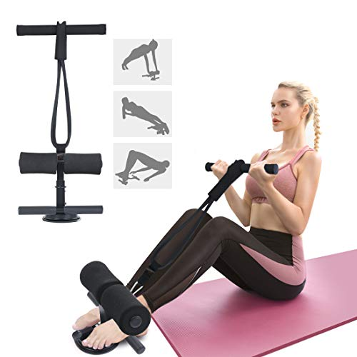 Tikaton Sit Up Bar with Resistance Bands Portable Adjustable Sit Up Assistant Device Ab Workout Equipment with Suction Cups Support Rode Ab Exercise Machine for Home Work Travel