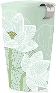 Tea Forte Kati Cup Ceramic Tea Infuser Cup with Infuser Basket and Lid for Steeping, Lotus