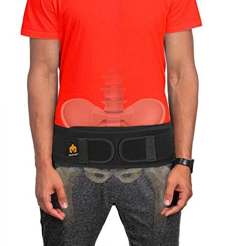 Sacroiliac Si Hip Belt by Sparthos - Relief from Si Joint, Sciatica, Pelvis, Lower Back Pain - Support Brace for Women and Men - for Sacral Nerve, Hip Loc Tilt Up Belts Braces (Black-REG)