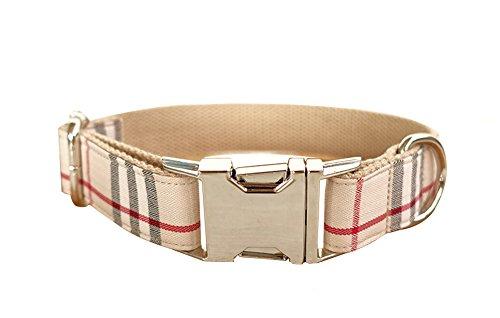 Kismaple Handgefertigte Kragen Nylon Hund Halsbänder mit Metallschnalle Khaki Kragen Für kleine mittlere große Haustierhunde,5 Größen (M (Breite: 2,5 cm, Länge: 42-48 cm)