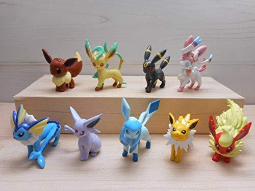 Yangzou 9 Unids 5 Cm Pikachu Figura De Acción Juguete Eevee Evoluciones Vaporeon Jolteon Flareon Espeon Umbreon Leafeon Glaceon Sylveon
