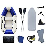 TABODD 4 Person Inflatable Kayak Boat Canoe, Large Inflatable Dinghy Boats Touring Kayaks with Air Pump, One Pair Oars, Ropes & Repair Patch - Outdoor Watersports Inflatable Rafts