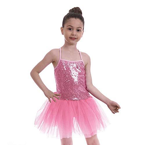 FONLAM Vestido Maillot de Ballet para Niña Vestido Danza Gimnasia Patinaje Tutú Ballet Niña Brillante (Rosa, 5-6 Años)