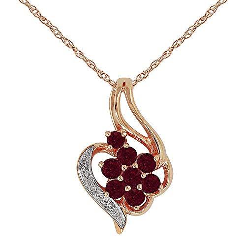 Oro rosa 9 carati con rubino naturale & goccia 0,49 k con pendente a grappolo, con diamanti, su catenina