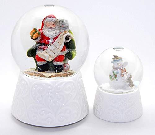 Minium Collection 2-89x-85x 2 tolle Weihnachts Schneekugeln mit weißem Porzellan-Sockel mit Spieluhr Santa Claus is Coming to Town 100mm + 65 mm Durchmesser mit Luftblase