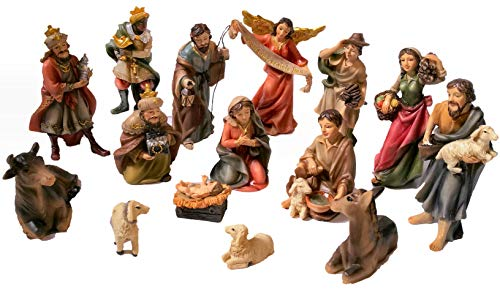 Faithful Treasure 15-Piece Nativity Figurine Set. Hand-Painted Christmas Nativity Scene, 4' Tall.