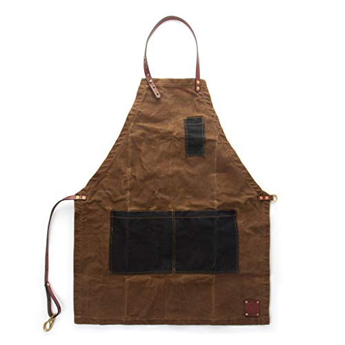 Waxed Canvas and Leather Woodworking Apron - The CHARLES - Sturdy Heavy Duty Carpenter, Barber, Potter, or Woodworking Accessory - Adjustable Size Workshop Apron With Pockets for Men and Women