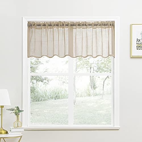 YOKISTG Sheer Kitchen Curtains Valance 18 Inch Length Small Window Curtains for Basement Bathroom Cafe, Khaki, 2 Panels