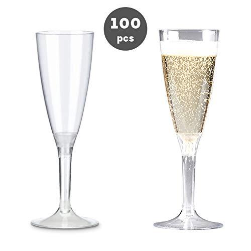 HungryCircle wegwerp-champagnekkkelk wijn room 100 ml inhoud, elegante vorm in de vorm van een wijnglas, wegwerp, praktisch en geschikt voor alle festivals, 100 stuks