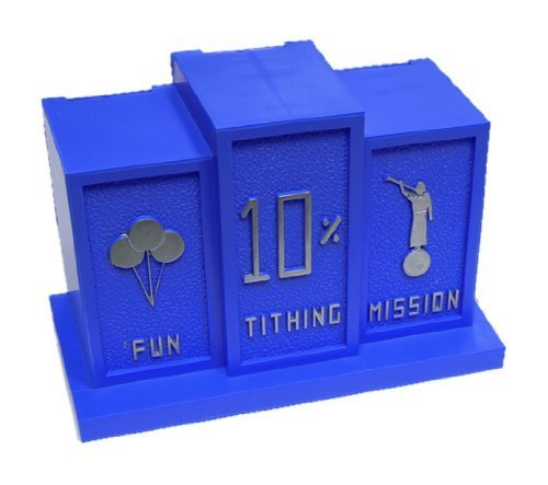 LDS Boys Blue Tithing Bank - 3 Slots: Fun, Tithing & Mission - Baptism Gift