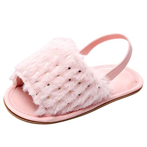 Kleinkind Schuhe für Kinder/Dorical Unisex Babyschuhe Jungen Mädchen Neugeborene Baby Brief Feste Flock Weiche Sandalen Slipper Freizeitschuhe Krabbelschuhe(Z02-Rosa,19 EU)