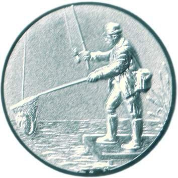Pokal Emblem Angeln - 50 mm/silber