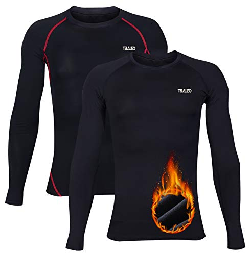 TELALEO Boys Girls Long Sleeve Compression Shirts Thermal Fleece Lined  Baselayer Kids Athletic Sports Tops Clothing Active Base Layers