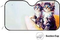 可愛い猫 カーフロントカバー 車用 サンシェード フロントガラス用 日よけ Uvカット 遮光 断熱 サンシェード