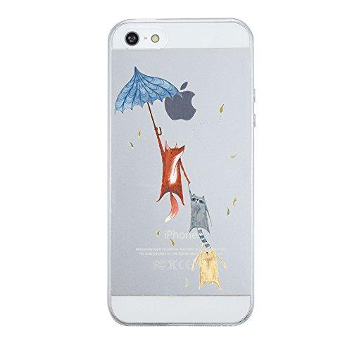 Caler iPhone SE Hülle Weiche Flexible Silikon-Handy-Hülle Transparente Ultra Slim TPU dünne stoßfeste mit Motiv R&um-Schutz Tasche Etui Schutzhülle Hülle Cover (Fuchs)
