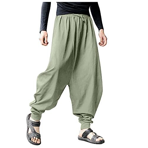 YANFANG Pantalones HaréN De AlgodóN Y Lino Gran TamañO Sueltos Color SóLido Retro Verano para Hombre,Pantalones Hombre,Outdoor Cintura Estampado Deportivos Al Aire Libre,Verde Caqui,L