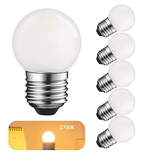 LED G40 Low Watt Glühbirnen 1,5W Weiches Warmweiß 2700K G14 LED Energiesparlampe 15 Watt Äquivalent Glühbirne Standardsockel E27, nicht dimmbar für Badezimmer, Schlafzimmer, 150 Lumen, 6er pack