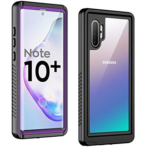 Temdan New Designed for Waterproof Samsung Galaxy Note 10 Plus Case,Clear Sound Quality Built in Screen Protector with Fingerprint ID Film IP68 Waterproof case for Samsung Note 10 plus/5G (Purple)